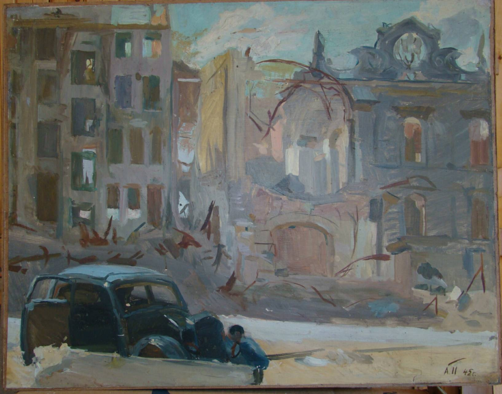 Berlin after the bombing. Cardboard, oil.57x73 cm, 1945