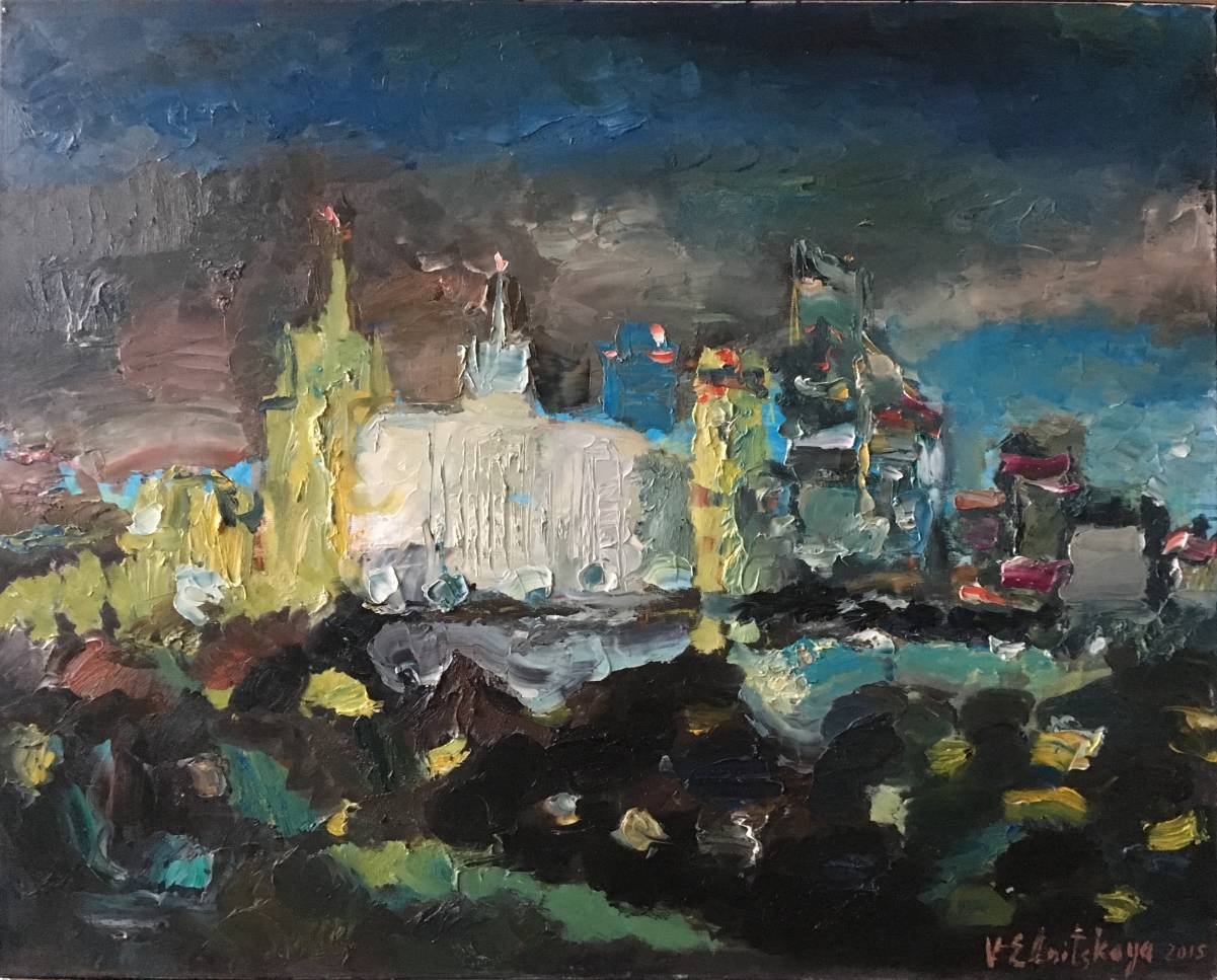 41. White House and City. 80х100 cm, canvas, oil, 2016